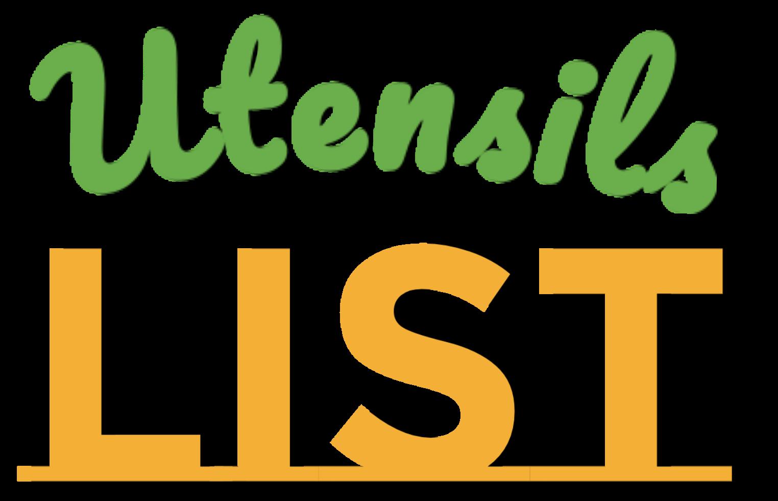 Utensils List